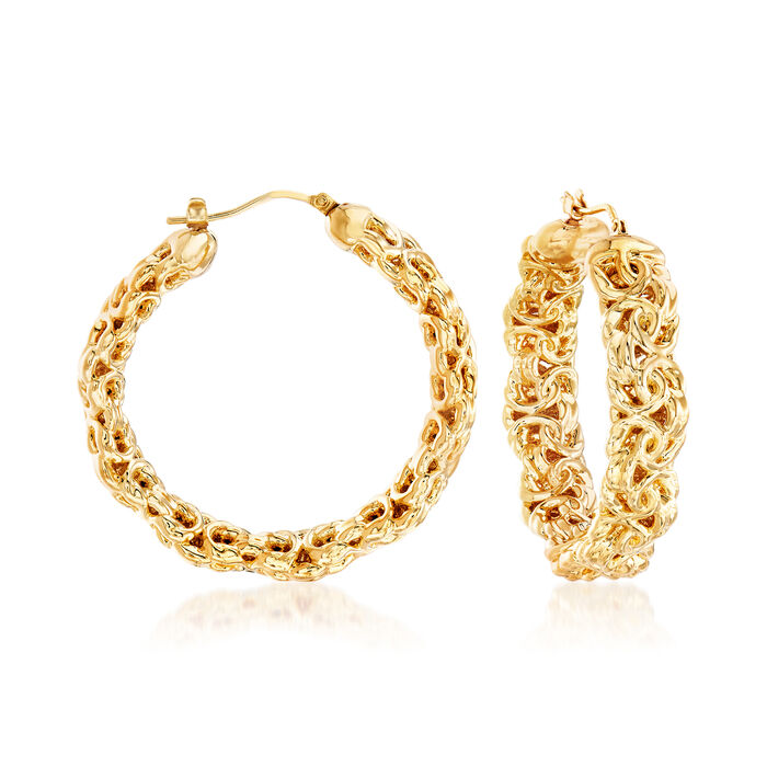 Italian Andiamo Byzantine Hoop Earrings in 14kt Gold Over Resin