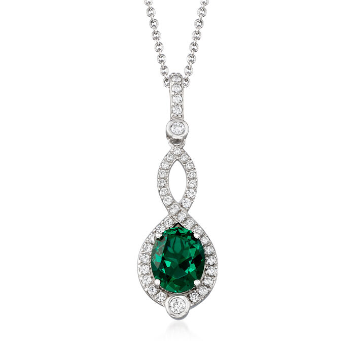 Simulated Emerald and .55 ct. t.w. CZ Pendant Necklace in Sterling Silver