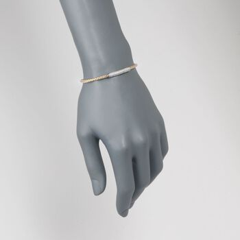 "Charles Gavnier ""Nardini"" .80 ct. t.w. CZ Bar Bolo Bracelet in Two-Tone Sterling Silver. 7"", , default"