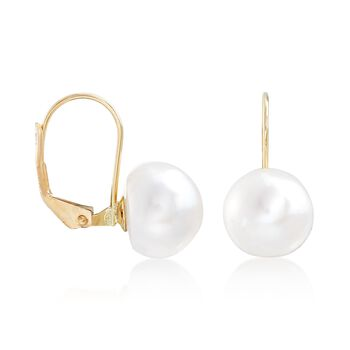 10-11mm Cultured Button Pearl Drop Earrings in 14kt Yellow Gold, , default