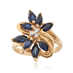 C. 1980 Vintage 1.75 ct. t.w. Sapphire Floral Ring With Diamond Accents in 14kt Yellow Gold, , default