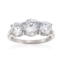 3.00 ct. t.w. CZ Three-Stone Ring in Sterling Silver, , default