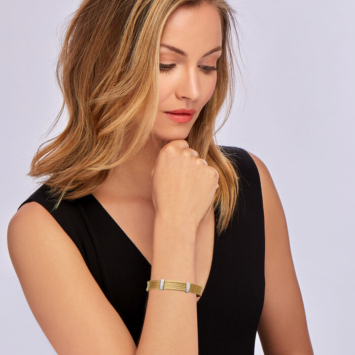 """ALOR """"Classique"""" .30 ct. t.w. Diamond Yellow Stainless Steel Cable Cuff Bracelet with 18kt White Gold"""