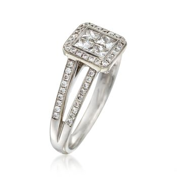 C. 2000 Vintage 1.10 ct. t.w. Princess-Cut and Round Diamond Engagement Ring in 14kt White Gold. Size 6.25, , default