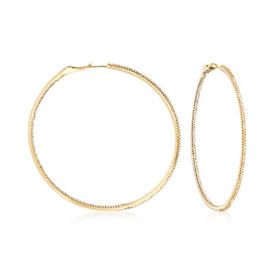 1.50 ct. t.w. Diamond Inside-Outside Large Hoop Earrings, , default