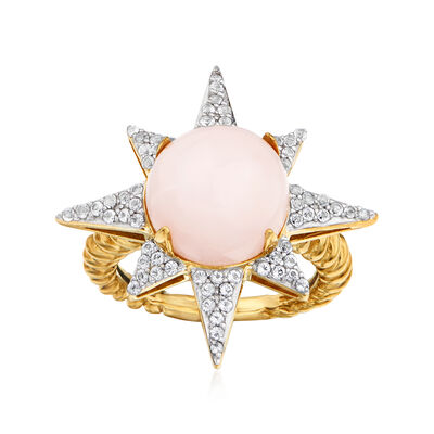 Pink Opal and .52 ct. t.w. White Topaz Star Ring in 18kt Gold Over Sterling