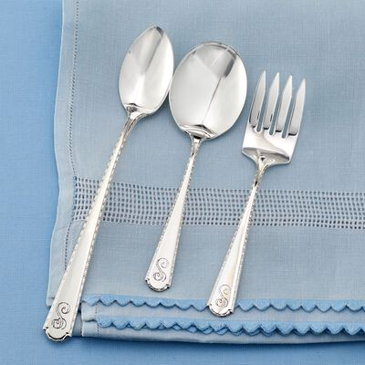 Sterling Silver Roped Edge Baby Feeding Set, , default