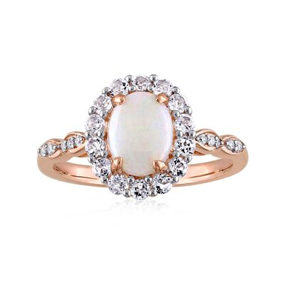 Opal and .60 ct. t.w. White Topaz Ring with Diamond Accents in 14kt Rose Gold