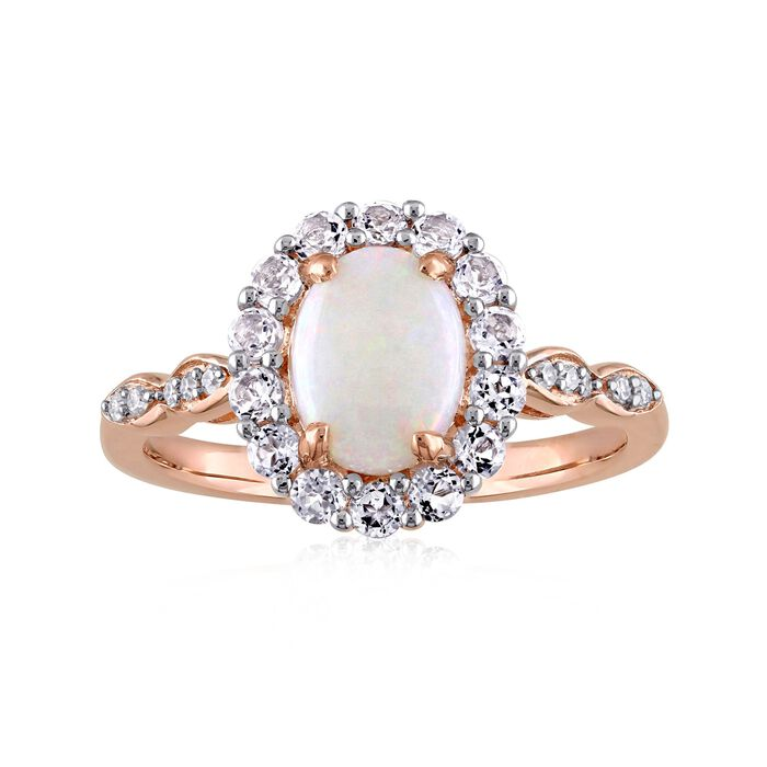 Opal and .60 ct. t.w. White Topaz Ring with Diamond Accents in 14kt Rose Gold, , default