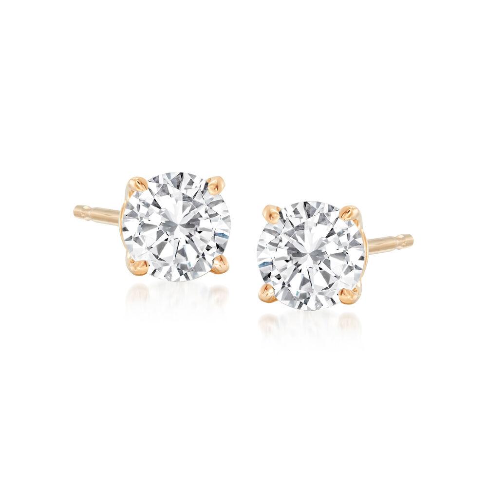 7e98709d8 75 ct. t.w. Diamond Stud Earrings in 14kt Yellow Gold | Ross-Simons