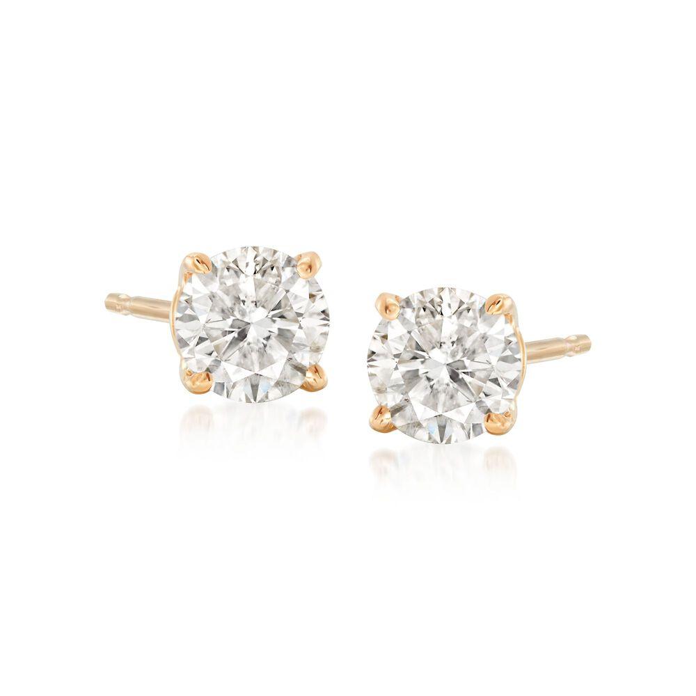 T W Round Diamond Stud Earrings In 14kt Yellow Gold Default