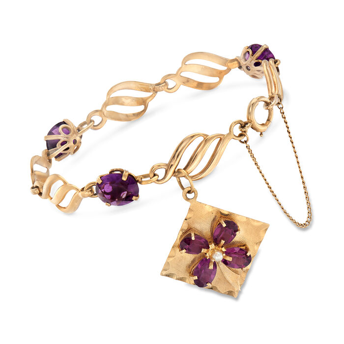 """C. 1960 Vintage Amethyst Bracelet with Pearl in 14kt Yellow Gold. 7"""", , default"""