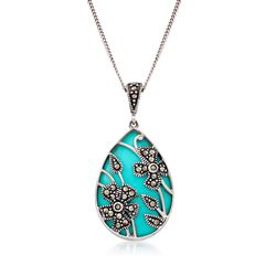 Howlite and Marcasite Pear-Shaped Floral Overlay Pendant Necklace in Sterling Silver, , default
