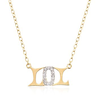 """14kt Yellow Gold """"Lol"""" Necklace With Diamond Accents. 18"""", , default"""
