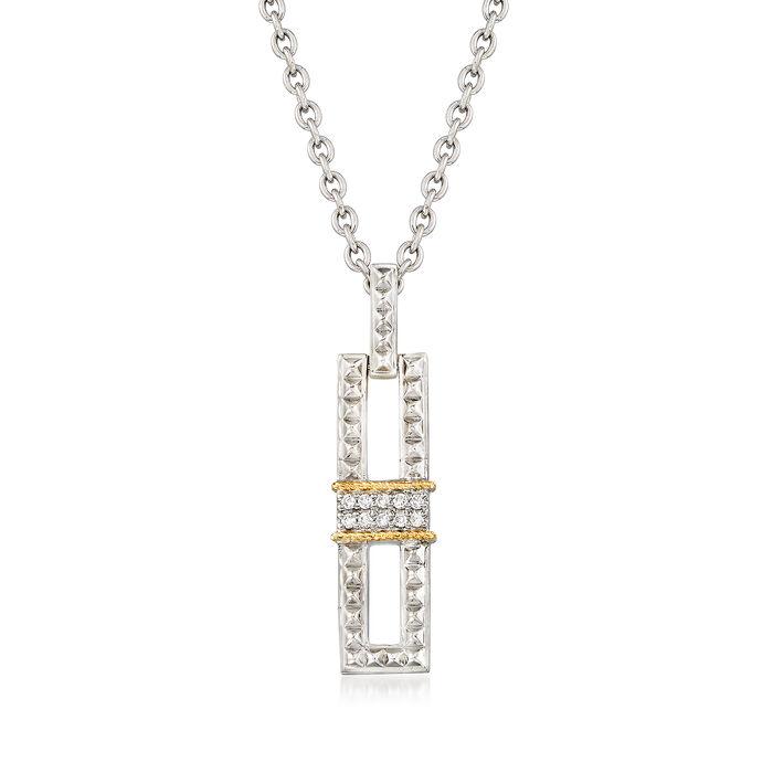 "Andrea Candela ""La Romana"" .14 ct. t.w. Diamond Necklace in Sterling Silver and 18kt Gold"