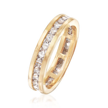 1.80 ct. t.w. CZ Eternity Band in 18kt Yellow Gold Over Sterling Silver . Size 6, , default