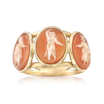 Italian 11x9mm Shell Cameo Goddess Ring in 14kt Yellow Gold, , default