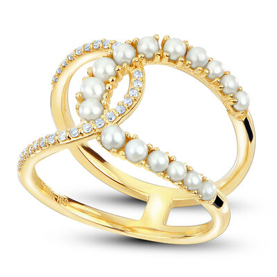 1.5-2mm Cultured Pearl and .13 ct. t.w. Diamond Double Horseshoe Ring in 14kt Yellow Gold