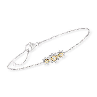 .25 ct. t.w. Diamond Flower Bracelet in Sterling Silver with 14kt Yellow Gold