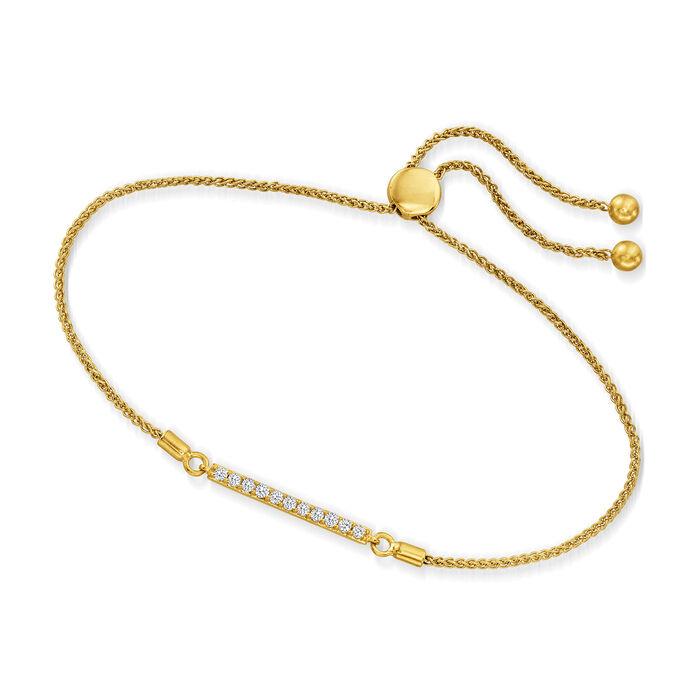 .25 ct. t.w. Diamond Bar Bolo Bracelet in 18kt Gold Over Sterling