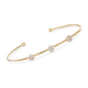 ".38 ct. t.w. Diamond Floral Station Cuff Bracelet in 14kt Yellow Gold. 7"", , default"