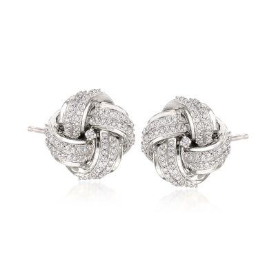 .50 ct. t.w. Diamond Love Knot Stud Earrings in Sterling Silver, , default