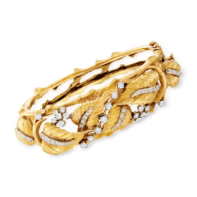 C. 1970 Vintage 1.50 ct. t.w. Diamond Leaf Bangle Bracelet in 14kt Yellow Gold, , default