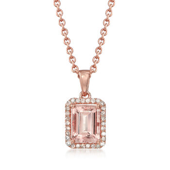 1.50 Carat Morganite and .14 ct. t.w. Diamond Pendant Necklace in 14kt Rose Gold Over Sterling, , default