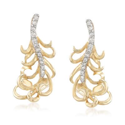 .10 ct. t.w. Diamond Leaf Earrings in 14kt Yellow Gold, , default