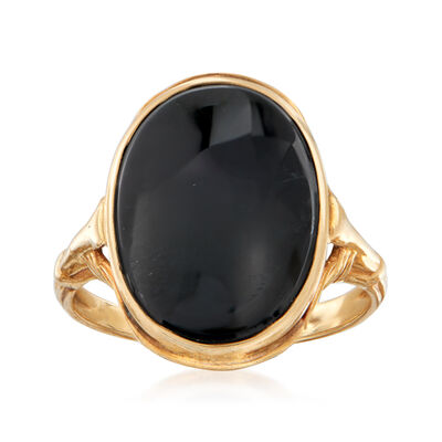 C. 1940 Vintage Black Onyx Ring in 14kt Yellow Gold, , default