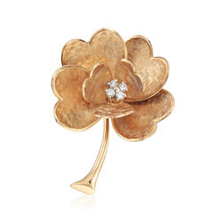C. 1970 Vintage 14kt Yellow Gold Flower Pin With .12 ct. t.w. Diamonds, , default
