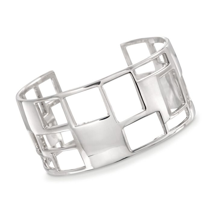 "Zina Sterling Silver ""Windows"" Cuff Bracelet. 7"""