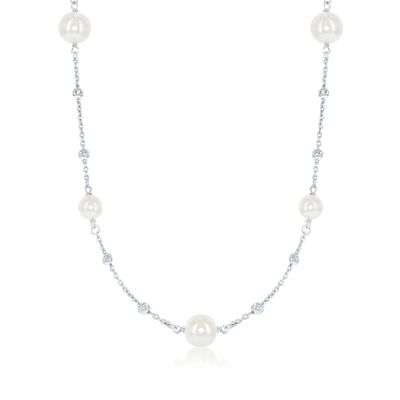 6-8mm Simulated Pearl and Diamond-Cut Bead Station Necklace in Sterling Silver, , default
