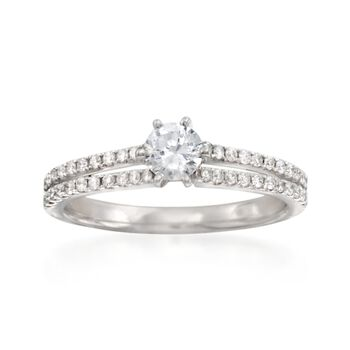 .28 ct. t.w. Diamond Two-Row Engagement Ring Setting in 14kt White Gold, , default