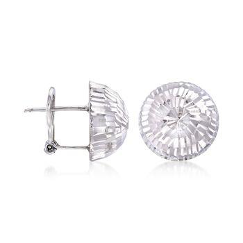 Italian 14mm Sterling Silver Diamond-Cut Dome Earrings, , default