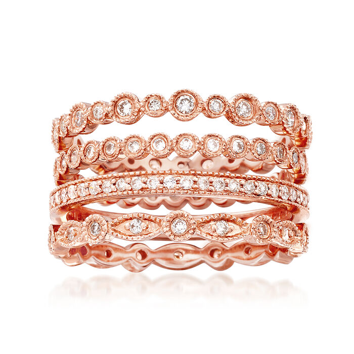 .73 ct. t.w. Diamond Jewelry Set: Four Eternity Bands in 14kt Rose Gold, , default