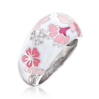 "Belle Etoile ""Constellations: Sakura"" Pink Enamel and .12 ct. t.w. CZ Ring in Sterling Silver. Size 7, , default"
