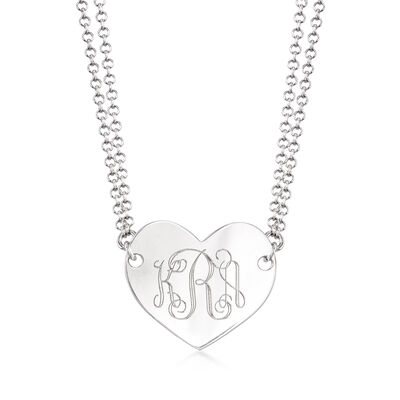 Italian Sterling Silver Personalized Heart Pendant Necklace, , default