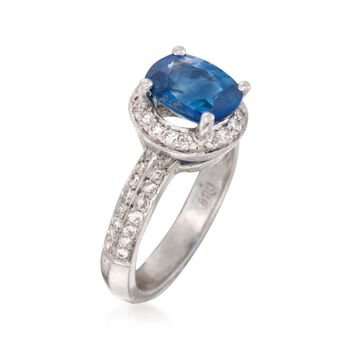 C. 2000 Vintage 2.65 Carat Sapphire and .65 ct. t.w. Diamond Ring in Platinum. Size 6.5
