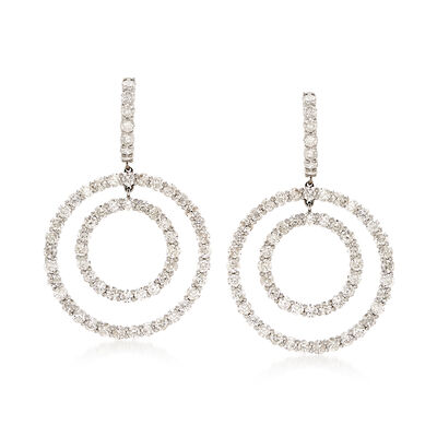 7.10 ct. t.w. Diamond Double Circle Drop Earrings in 18kt White Gold, , default