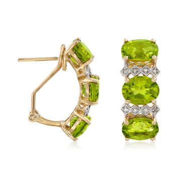 9.25 ct. t.w. Three-Stone Peridot Drop Earrings with Diamond Accents in 14kt Yellow Gold, , default