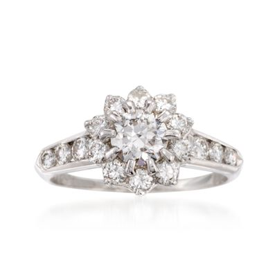 C. 1980 Vintage 1.60 ct. t.w. Diamond Floral Ring in 14kt White Gold and Platinum, , default