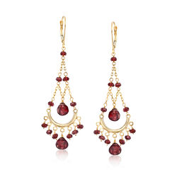 Garnet Chandelier Earrings in 14kt Yellow Gold, , default