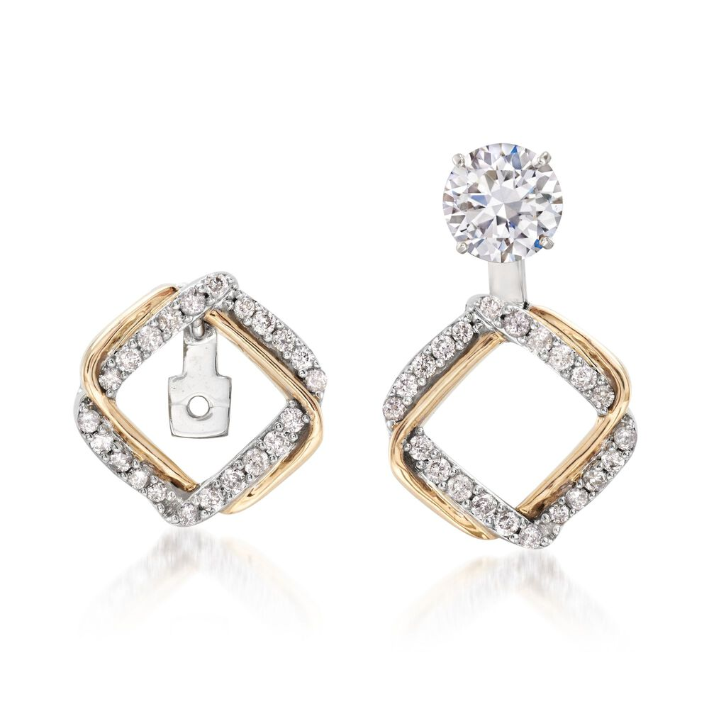 T W Diamond Interlocking Square Earring Jackets In 14kt Two Tone Gold