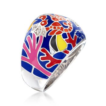 "Belle Etoile ""Seahorse"" Multicolored Enamel Ring with CZ Accents in Sterling Silver. Size 7, , default"