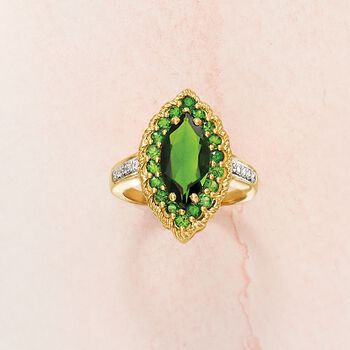 2.70 ct. t.w. Green Diopside Ring with Diamond Accents in 14kt Yellow Gold, , default