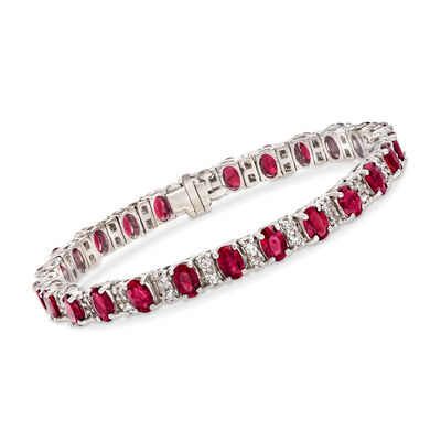 1.45 ct. t.w. Ruby and 1.45 ct. t.w. Diamond Bracelet in 14kt White Gold, , default