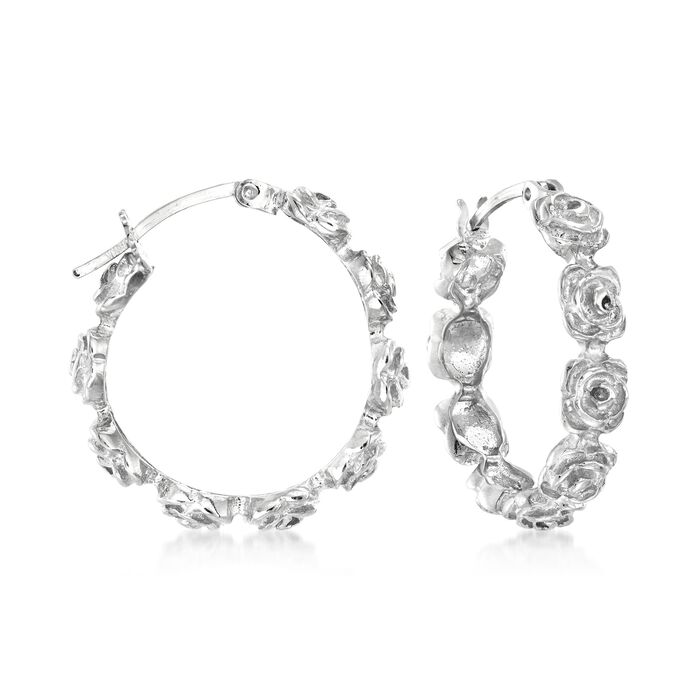 Sterling Silver Floral Hoop Earrings. 1""