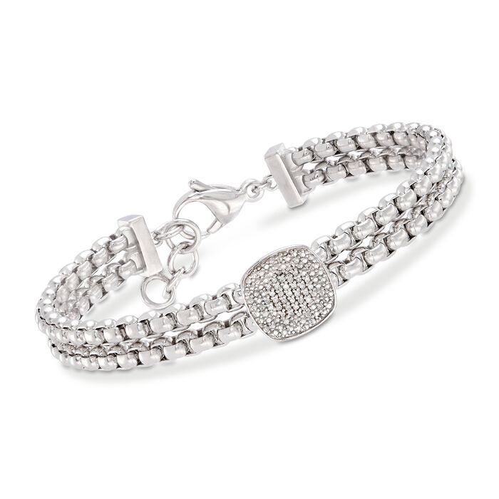 .10 ct. t.w. Pave Diamond Link Bracelet in Stainless and Sterling Silver. 7""