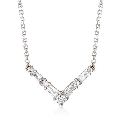.18 ct. t.w. Diamond V-Shape Necklace in 14kt White Gold